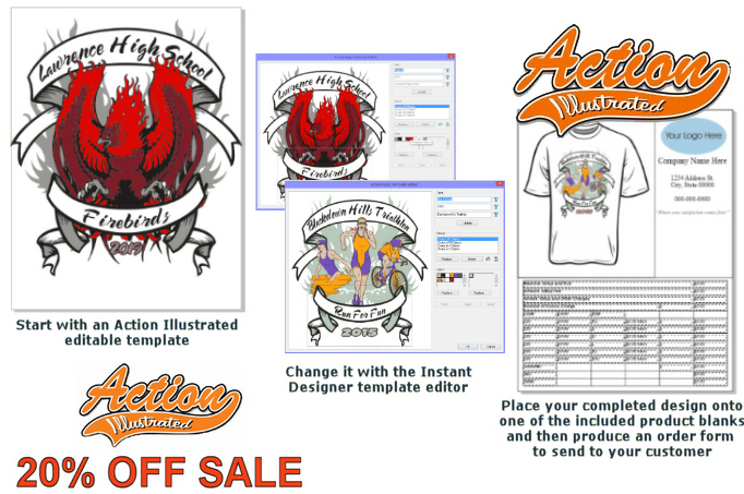 Action Illustrated design software and clipart collection