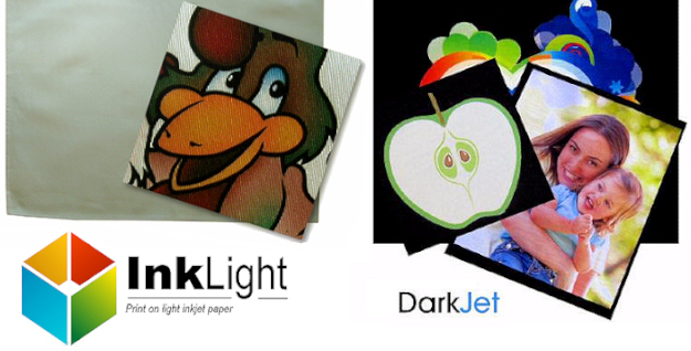 InkLight and DarkJet inkjet printable transfer papers