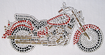 Red motorbike rhinestud design