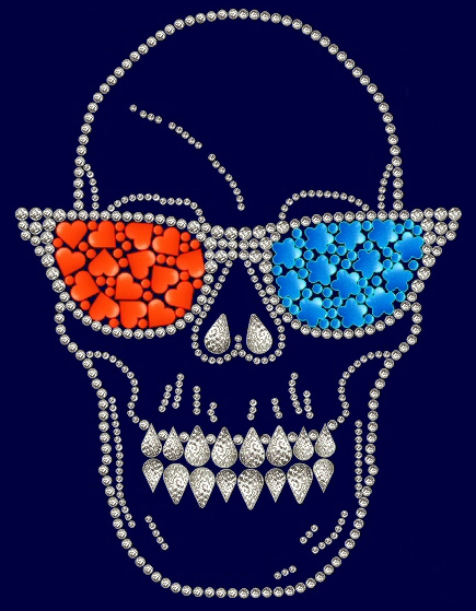 Skull with sunglasses rhinestud design