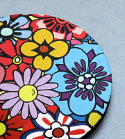 Fabric topped rubber coaster round