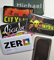 Oblong badge fridge magnets