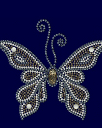 Gold, silver and white nailhead butterfly