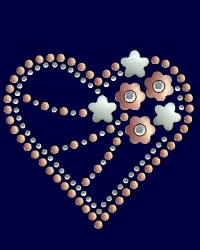 Floral heart nailhead and rhinestone design