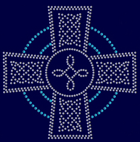 Celtic cross rhinestud design
