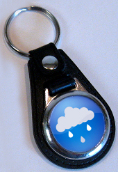 Keyring leather 25mm round