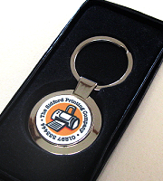 Keyring round silver with presentation box