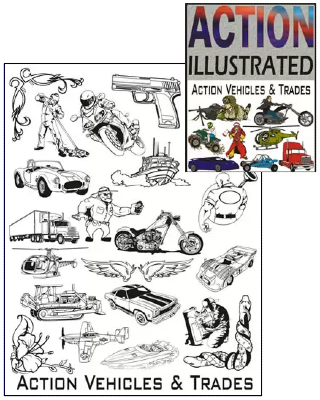 Action Illustrated Vehicles and Trades Clipart