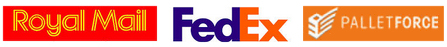 Logos for Fedex Royal Mail and Palletforce