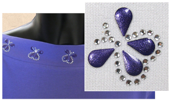 Purple butterfly rhinestone and nailhead design