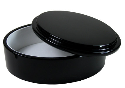 High gloss black oval keepsake box