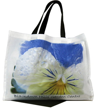 Polyester beach bag with black handles