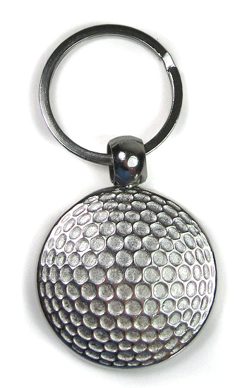 Golf Ball Style Keyring Round Silver 25 Mm Insert For Dye