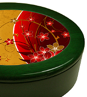 High gloss green oval keepsake box