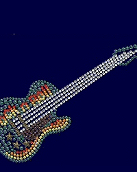 Guitar rhinestone and nailhead design