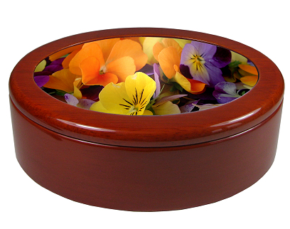 High gloss mahogany oval keepsake box