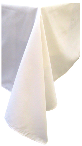 White 'cotton feel' polyester tablecloth 150 x 305 cm