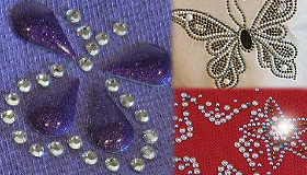Loose rhinestones and rhinestuds plus a range of premade sparkly designs