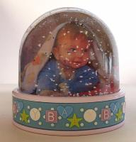 Baby boy photo globe with blue and white snow