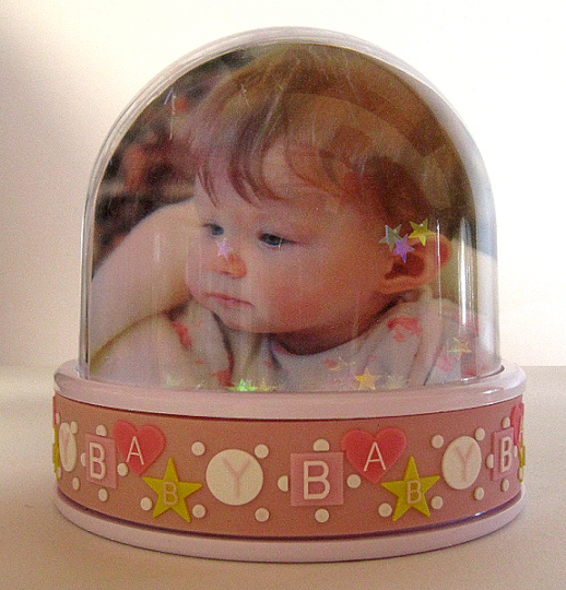 Baby girl photo globe with pastel iridescent stars