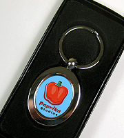 Keyring oval shaped silver with presentation box (07)