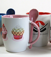 Two tone mug with matching spoon