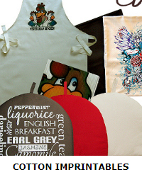 Cotton imprintables - aprons, oven mitts and gloves. cushion covers and more